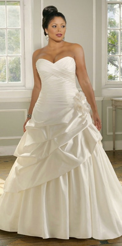 A Line Pleated Ruching Satin Flower Sweetheart Pick Ups Plus Size Wedding Gowns